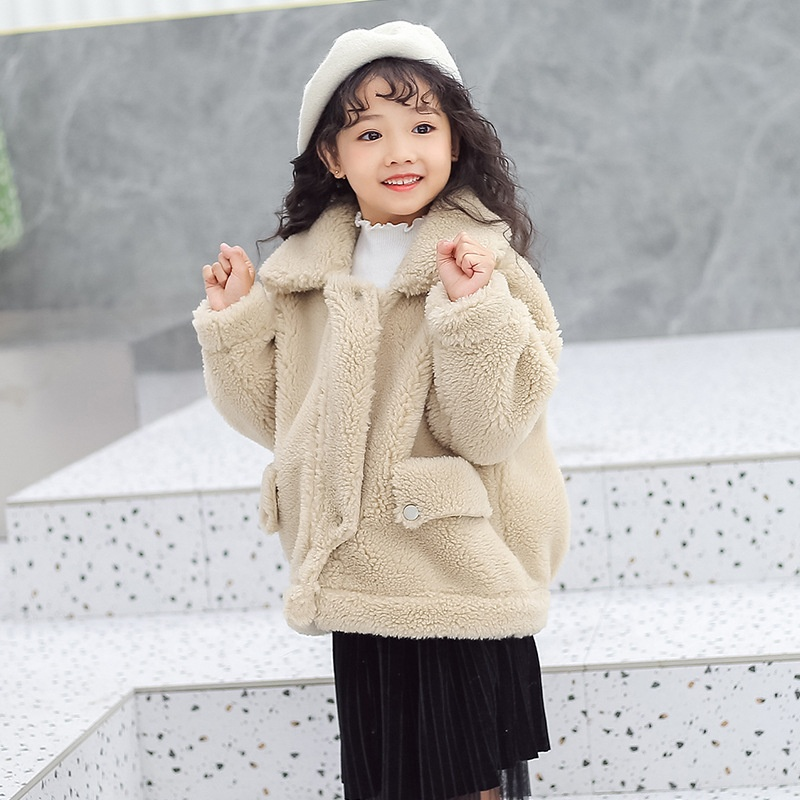 Jackets Fur-Coat Shearing-Fur Sheep Winter Child Real Warm Thick Fashion Baby-Boys-Girls