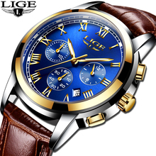 купить Relogio Masculino Gold Mens Watches Top Brand Luxury LIGE Mens Fashion Business Watch Men Casual Leather Waterproof Quartz Watch по цене 1106.58 рублей
