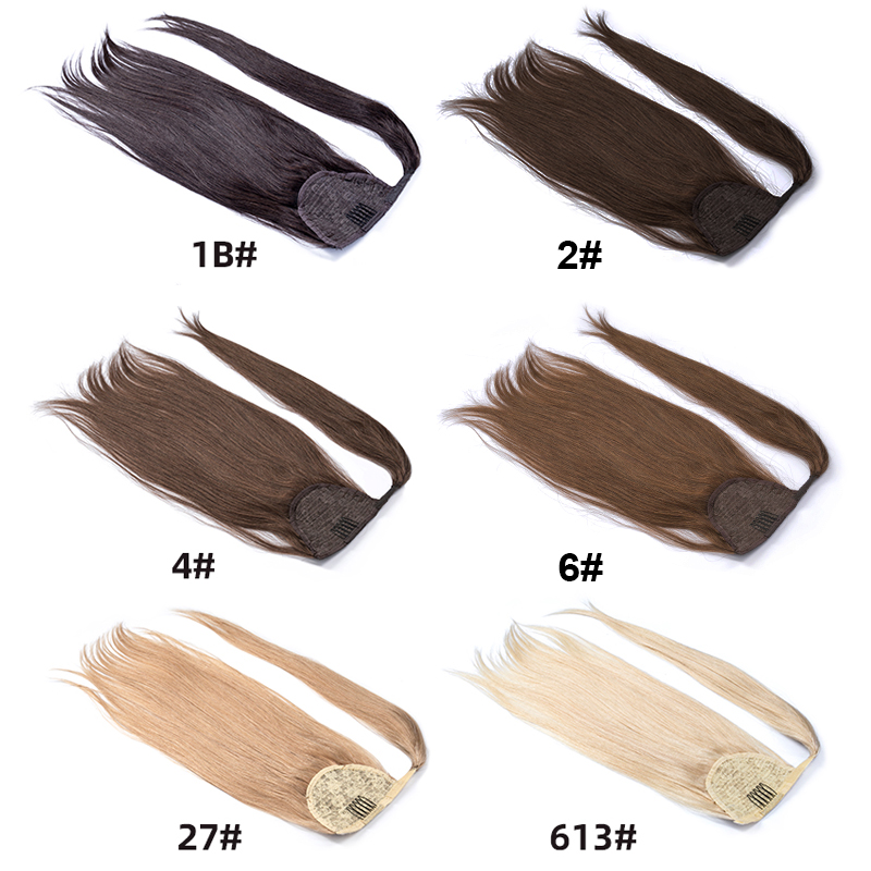 Ponytail Human Hair Remy Straight European Ponytail Hairstyles  100% Natural Straight Hair Clip In Extensions