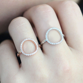 ZHOUYANG Ring For Women Summer Circle  Personality Sweet Gift Rose Gold Color All Size Fashion Jewelry R843 R844 1