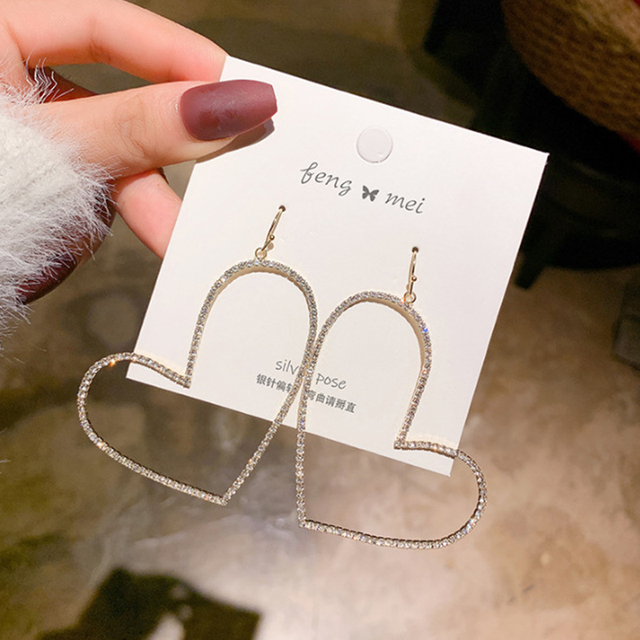 Elegant Exaggerated Heart shaped Hanging Dangle Prevent Allergy Women s Earrings 2020 New Trend Rhinestone Fashion.jpg 640x640 - Elegant Exaggerated Heart-shaped Hanging Dangle Prevent Allergy Women's Earrings 2020 New Trend Rhinestone Fashion Earrings