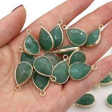 3 шт раздел натуральный камень граненый зеленый авантюрин подвески