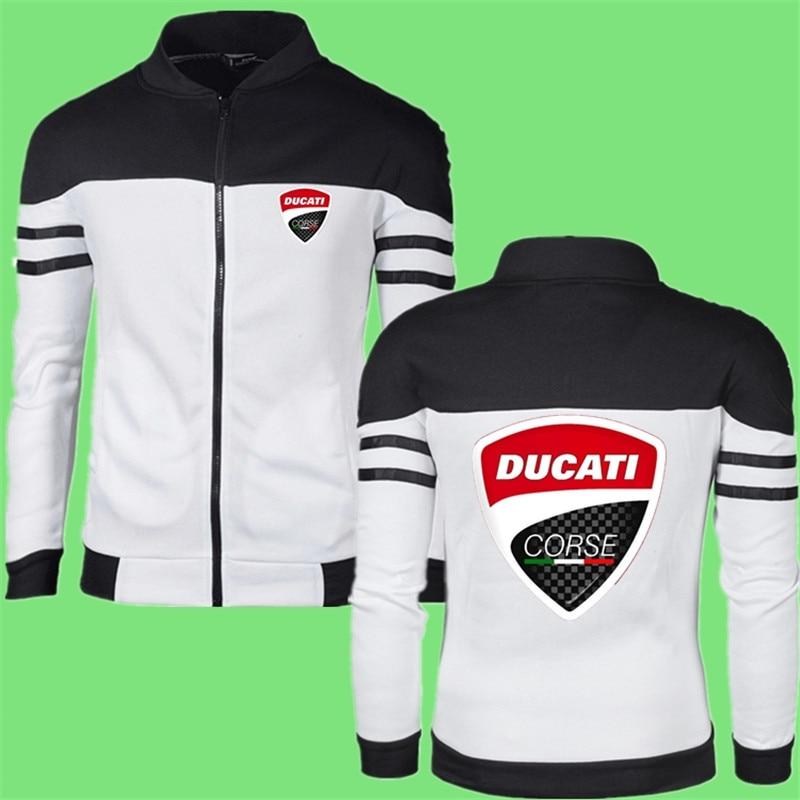 Classic Stripe Male Ducati LOGO Jackets Zipper Round Neck Fitness Comfortable Harajuku Style Warm Streetwear Coat Fast Delivery