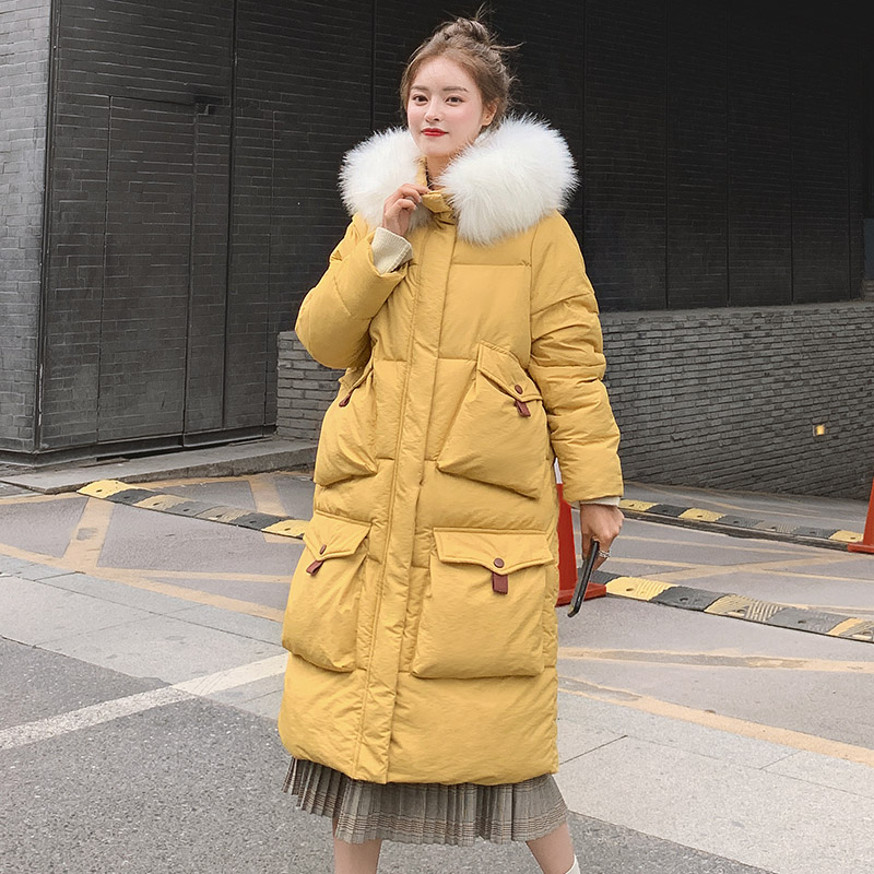 Winter women X-long   parkas   coat four pockets Thicken big fur collar female loose jacket Casual outwear   parkas   coat