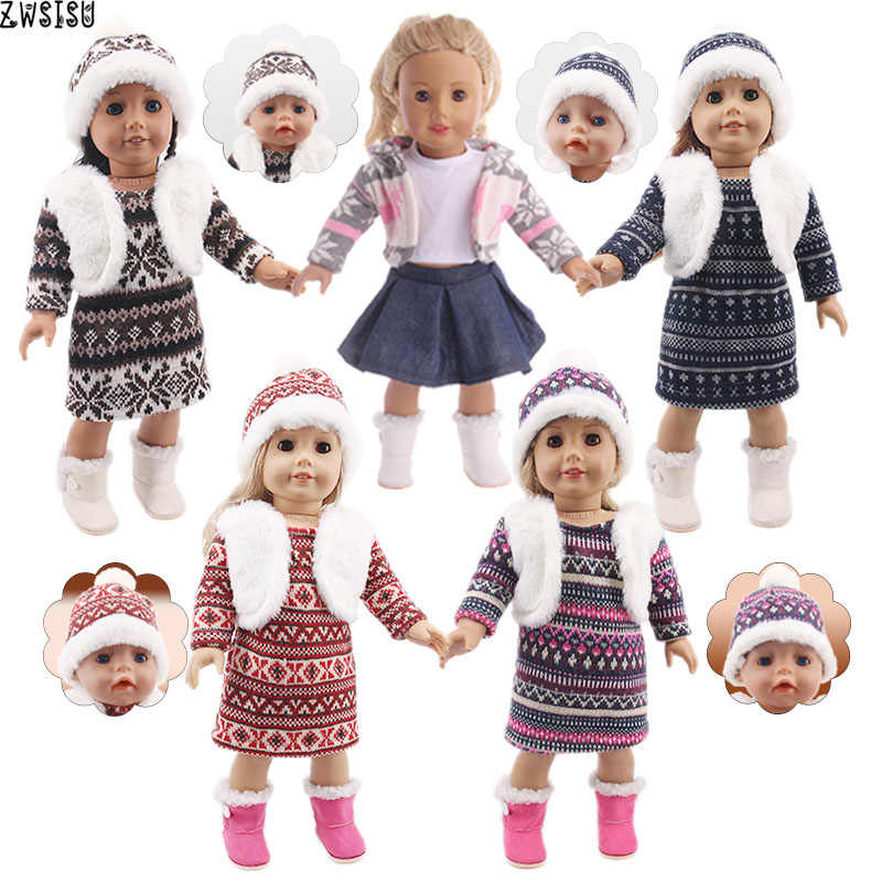 Doll Clothes 3pcs/Set Hat/T-shirt+Vest/Knitted Sweater+Skirt For 18 Inch American &43 Cm Born Baby Doll For Generation Girl`s