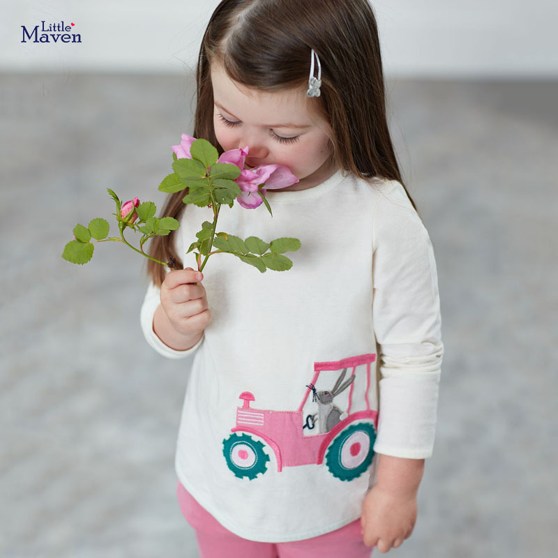 Little maven Girls Long Sleeve Shirts Animal Rabbit Children's Shirts for Kids Clothes Autumn Baby Girls Costume 1