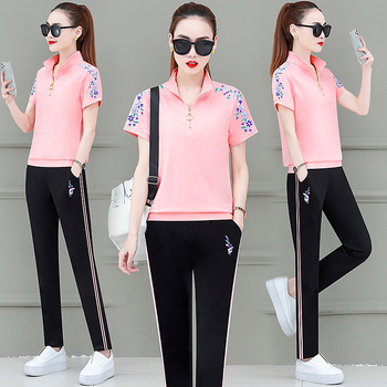 цена на pink outfit womens clothing summer short-sleeved T-shirt 2020 woman clothes casual two-piece suit two piece set top and pants