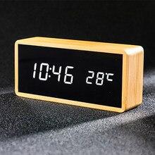 100% bambus cyfrowy budzik regulowana jasność sterowanie głosem biurko duży wyświetlacz temperatury i czasu USB/zasilany z baterii
