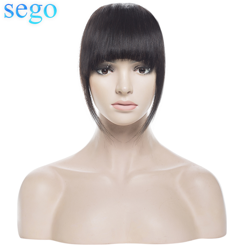 SEGO Front-Hair Bangs Fringes Blond Human Black Straight 100%Human-Hair 3-Clip-In 1piece