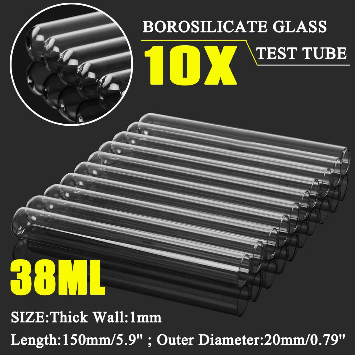 KICUTE Borosilicate Glass Test Tube 10Pcs 20x150mm Tubing Blowing Pyrex Tubes 38mL Thick Blowing Tube Lab Tubing School Factory