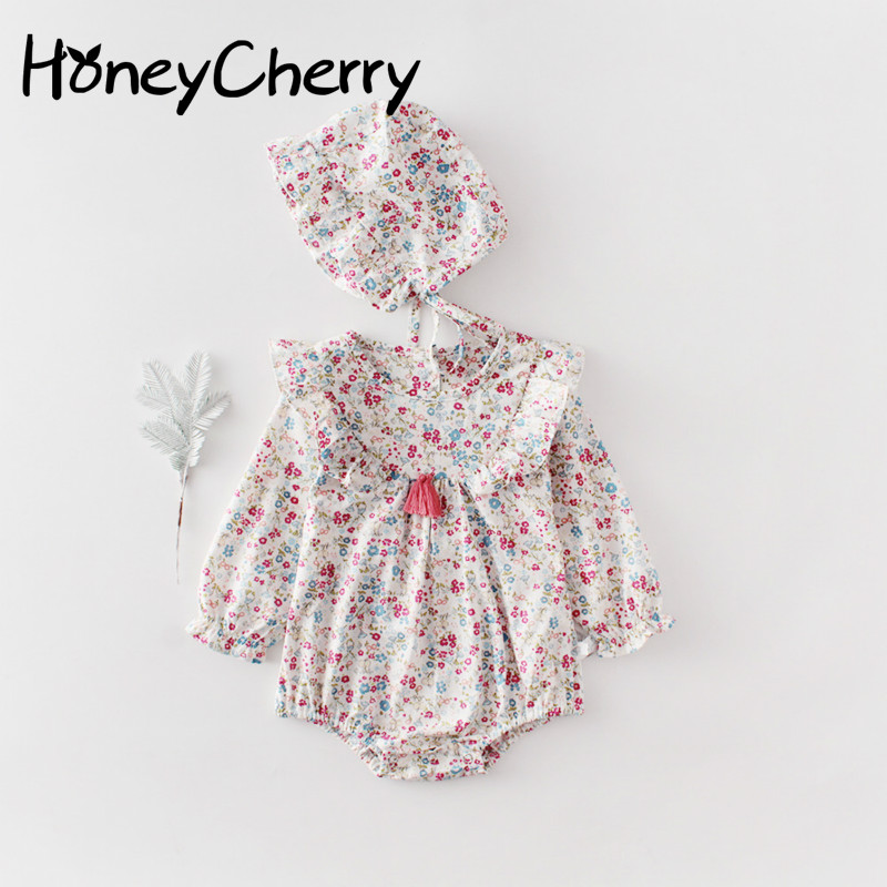 2020 Spring Baby Girl Bodysuits New Baby Girl's Small Floral Long Sleeve Hardcover Cotton One-piece Creeper With Hat