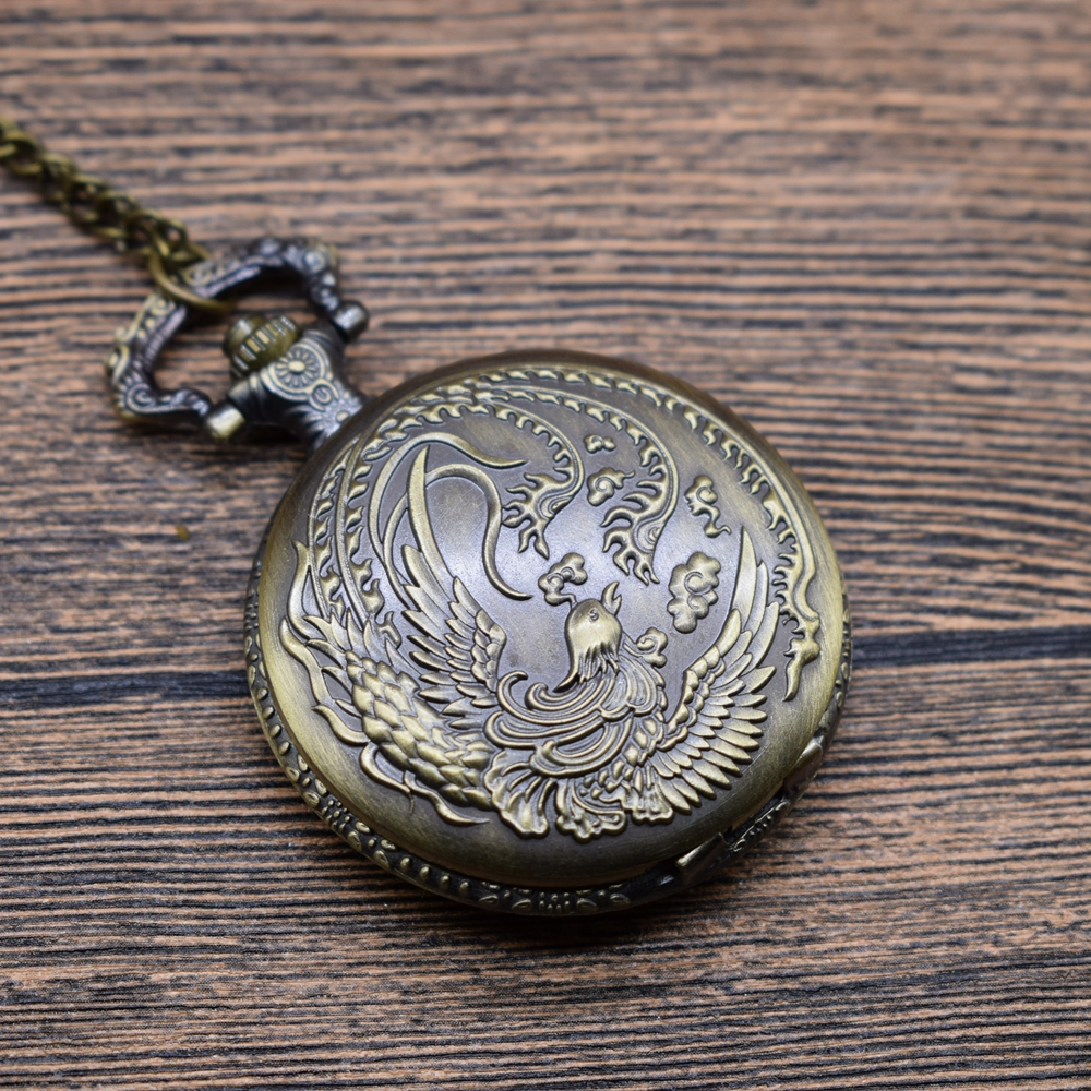 Pocket & Fob Watches Vintage Bronze Phoenix Bird Quartz Pocket Watches Necklace  Women/Mens  Pendant Watch with Necklace Chain