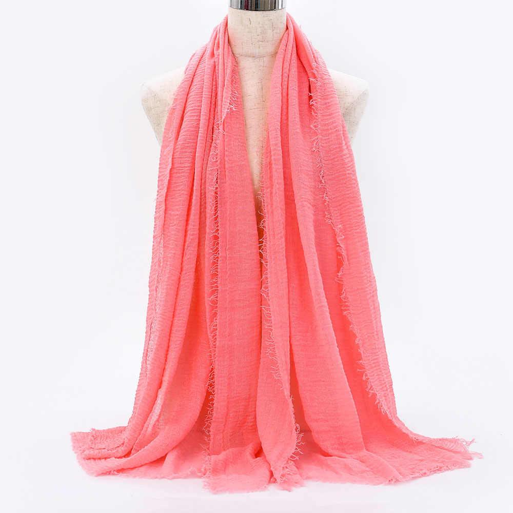 2019 유행 여성 솔리드 crinkle hijab 술 목도리 foulard femme 부드러운 순수 랩 레이디 이슬람 머리 스카프 의류