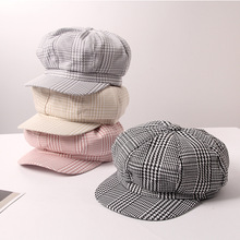 Hat Female Japanese Trellis Thin Beret Spring and Summer British Retribution Painter Chic Octagonal Cap