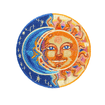 Hippe The God of Moon and Sun Retro Embroidered Round Myth Badge DIY Iron on Patch for Cap Backpack Bag image