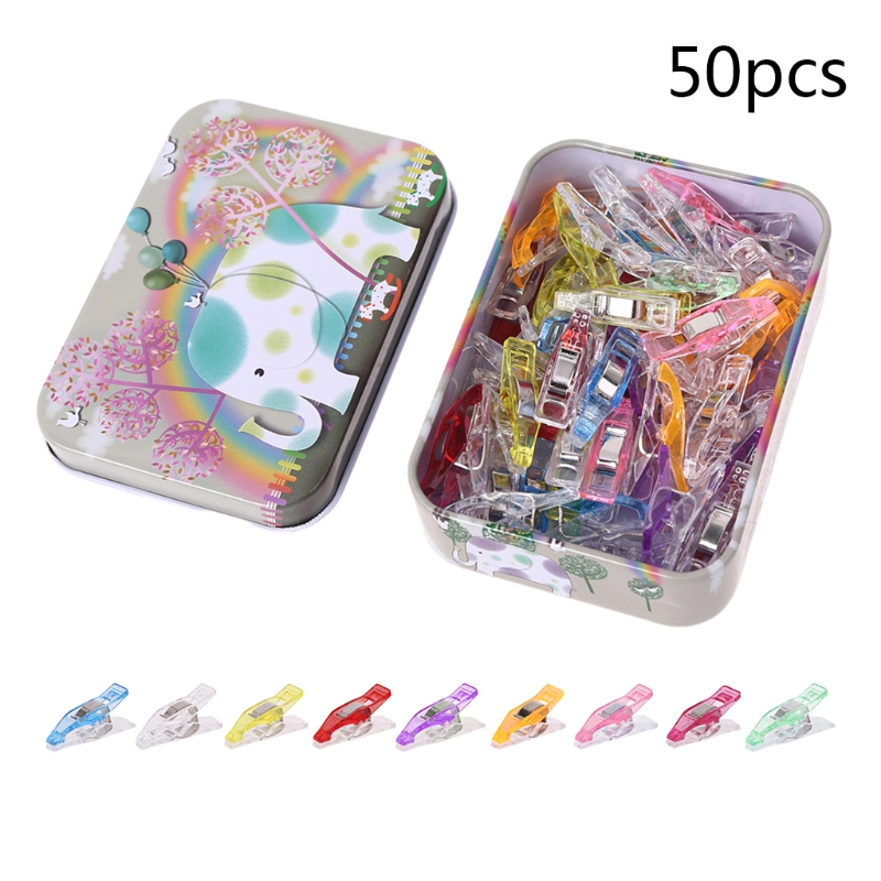 50pcs Multipurpose Sewing Quilting Clips with Box Binding Clamps for Patchwork Crafting Crochet Knitting Accessories