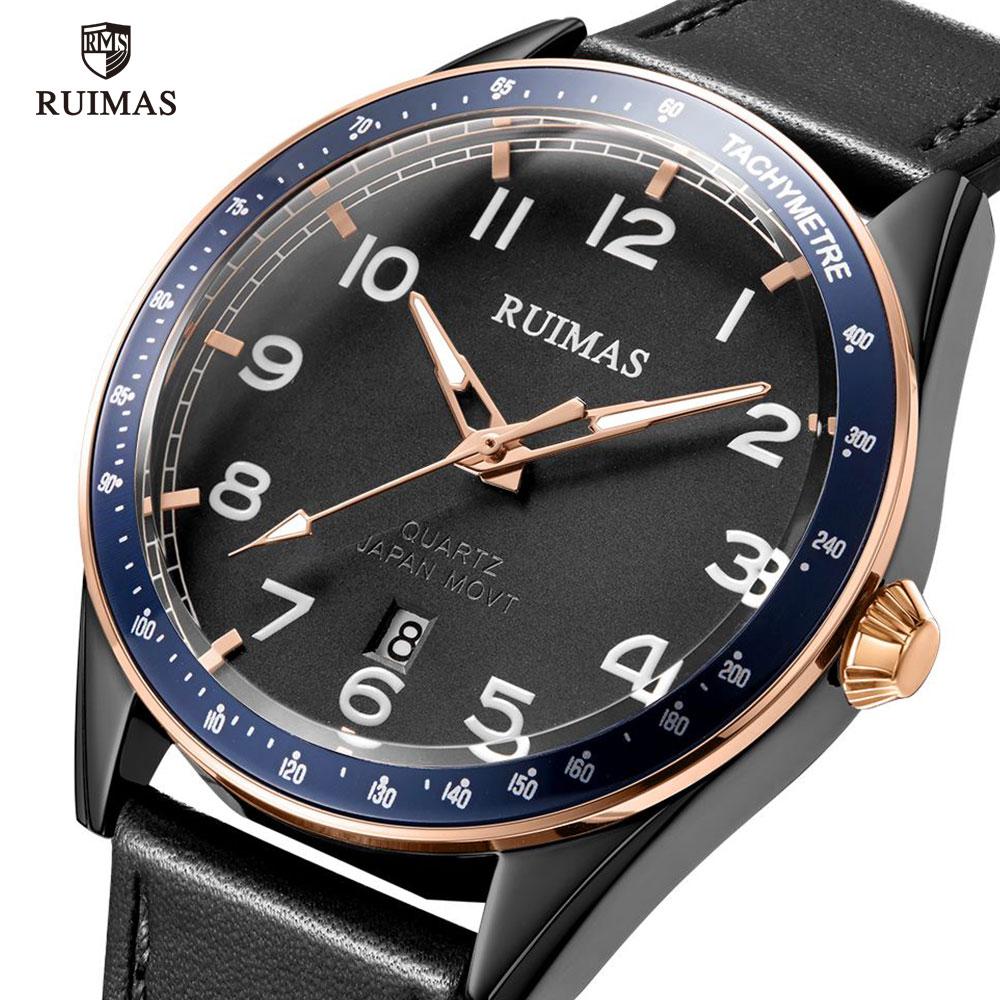 RUIMAS Simple Quartz Watches Men Luxury Top Brand Wristwatch Casual Army Leather Watches Man Luminous Relogios Masculino 573