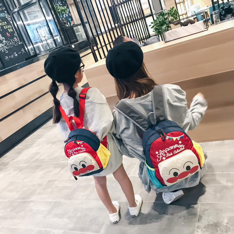 Kindergarten Backpack Korean-style Cartoon Children Backpack Travel Cute Bread Superman Parent And Child Bag