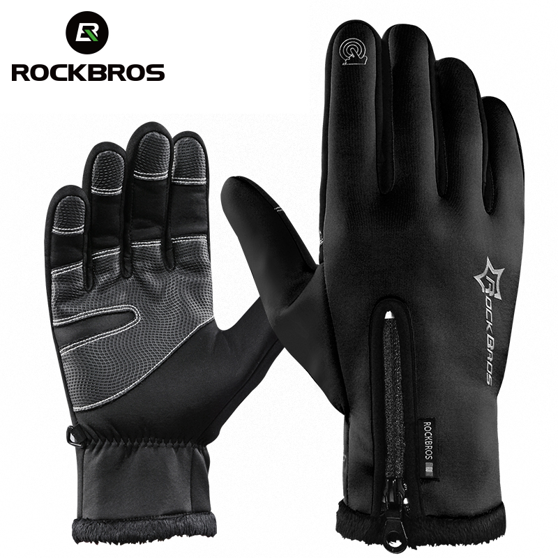 ROCKBROS Touchscreen Bike Handschuhe Winter Thermische Winddicht Warme Voll Finger Radfahren Handschuh Anti-slip Fahrrad Handschuhe Für Männer frauen image