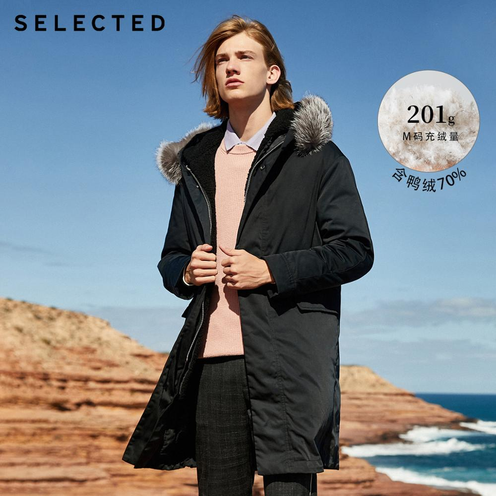 SELECTED Men's Winter Down Jacket Male Parka Duck Down Fox Fur Medium-style Down Coat Warm Clothes S   418412584