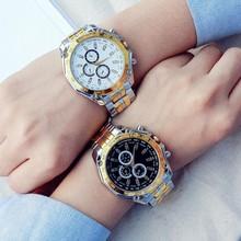 1 szt Luksusowy biznes mężczyźni zegarki kwarcowe srebrny złoty zegarek ze stali nierdzewnej moda mężczyzna klasyczna sukienka zegarek biznesowy tanie tanio Vinkkatory 23cminch Moda casual QUARTZ Nie wodoodporne Składane zapięcie z bezpieczeństwem CN (pochodzenie) Ze stopu