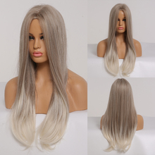 ALAN EATON Long Straight Ombre Gray Ash Blonde Synthetic Wigs for Black Women Na