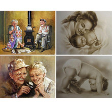 "Full Square/Round Drill 5D DIY Diamond Painting ""Mother and child"" 3D Diamond Embroidery ""Old man"" angel home decoration FG1569(China)"