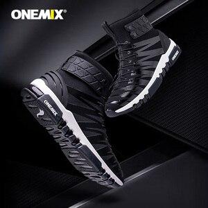 Image 4 - ONEMIX 2019 גברים מגפי נעלי ריצה לנשים סניקרס גבוהה למעלה חורף שלג מגפיים חיצוני עמיד למים הליכה טרקים נעל