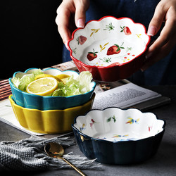 Prostota w stylu nordyckim ręcznie malowane ceramiczne ciasto sałatkowe miska kolorowe porcelanowe zupy miska na owoce koronki ryż przekąska deserowa miska zastawa stołowa