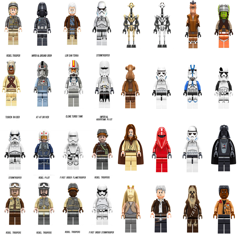 Star Wars Legoing Figures Rebel Troopers Han Solo Yoda Luke Sith Lord Darth Vader Rey Emperors Royal Building Blocks Bricks Toys