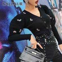 GALCAUR корейский стиль, лоскутные тонкие свитера с блестками для женщин, v-образный вырез, пышные рукава, большие размеры, вязаные кардиганы для женщин, Осень-зима