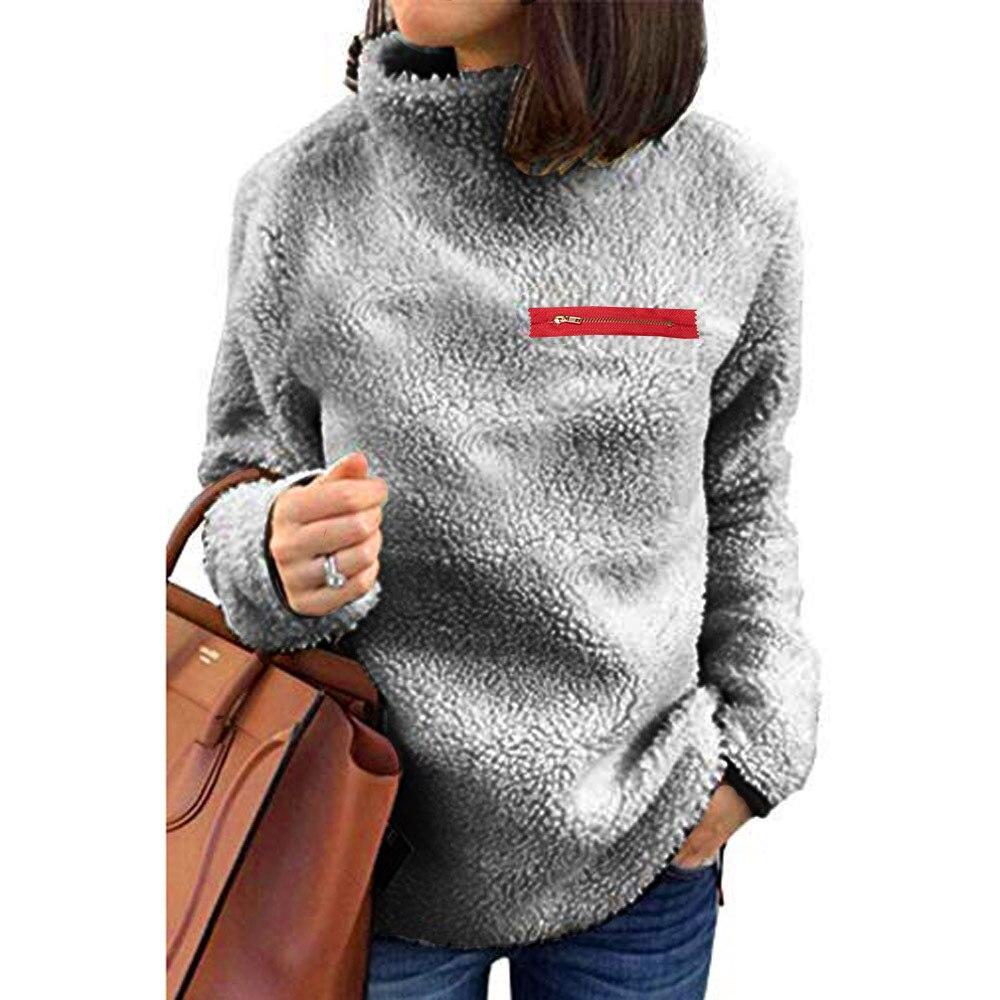 2020 Hoody Women Winter Turtleneck Warm Cashmere Women Long Sleeve Zip Solid Print Sweatshirt  Plus Size Casual Short Tops