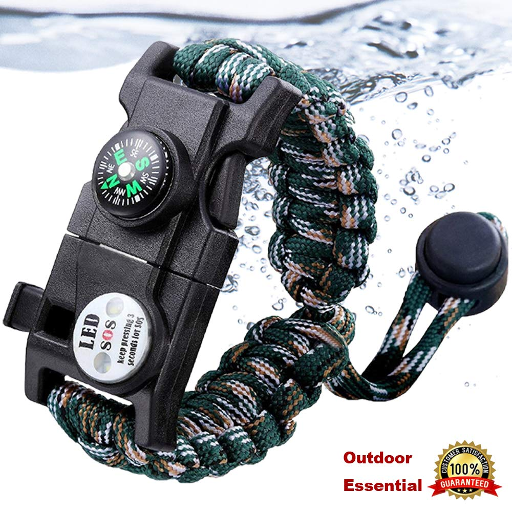 Survival Bracelet Paracord With SOS Lamp Compass Whistle Knife Outdoor for Men Women Camping Tourism SOS Emergency Kit (11)