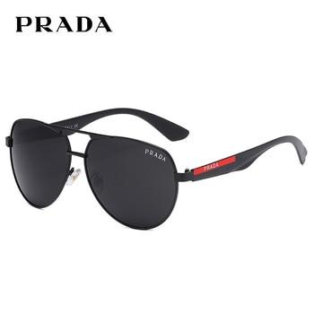 Prada 4017 Men Polarized Sunglasses Retro Classic Pilot Glasses Brand Goggoles Leisure UV400 Protection Metal Frame Oculos de so