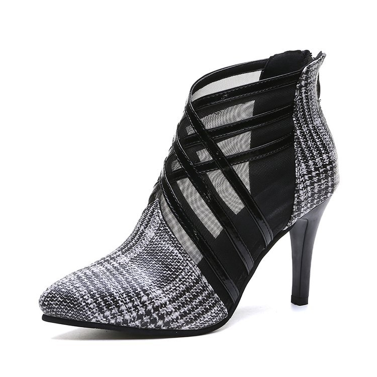 Summer Mesh Peep Toe Sandals Sexy Heels Single Shoes Women In Europe And America Spring Gauze Mujer High Pointed Toe 563