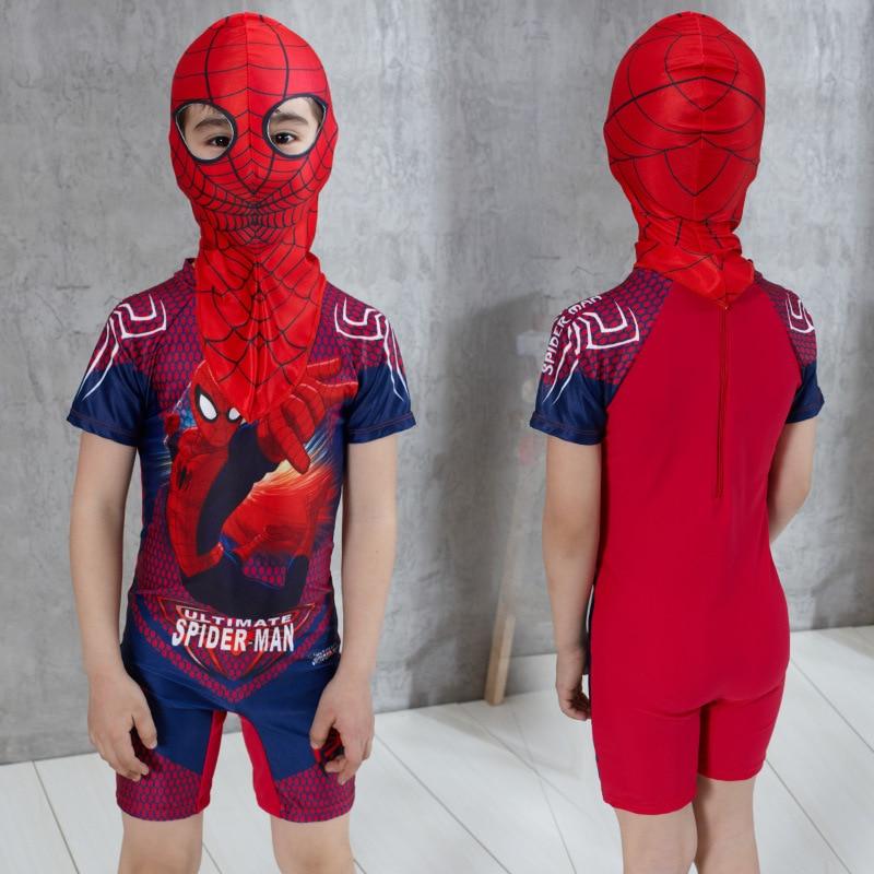 Bathing Suit Cute Cartoon BOY'S One-piece Boxer Swim Bathing Suit With Swim Cap Spider-Man CHILDREN'S Swimsuit Boy Sun-resistant