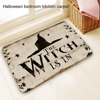 60x40cm 50x80cm Bathroom Mat The Witch Is In Pattern Rubber Mat Halloween Carpet for Bedroom Kitchen Door Felt Rug Party Decor image