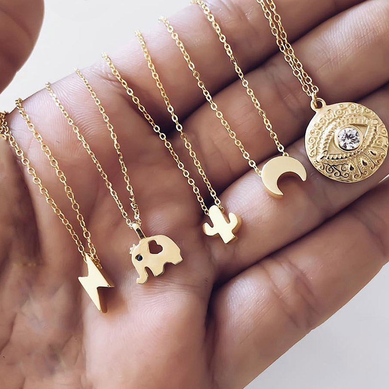 Classic Fashion Gold Color Pendants Necklaces Moon Eye Elephant Cactus Lightning Hot Selling Women Necklace Choker Party Jewelry(China)