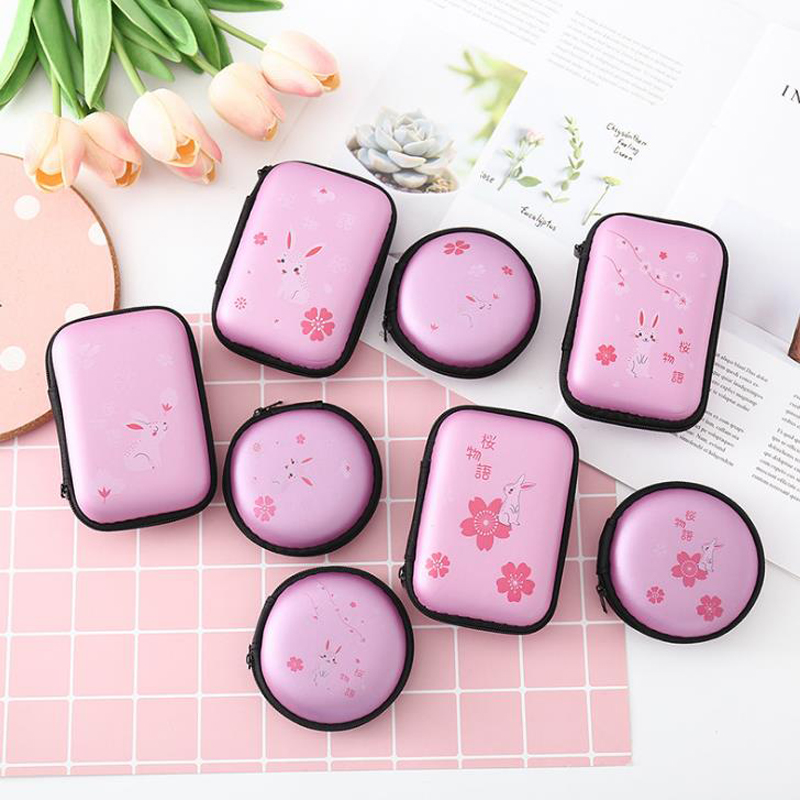 1 Pcs Cute Portable Mini Cherry Blossoms Sakura Rabbit Women Girls Coin Bags Headphone Case Zipper Card Holders Pouch Gifts