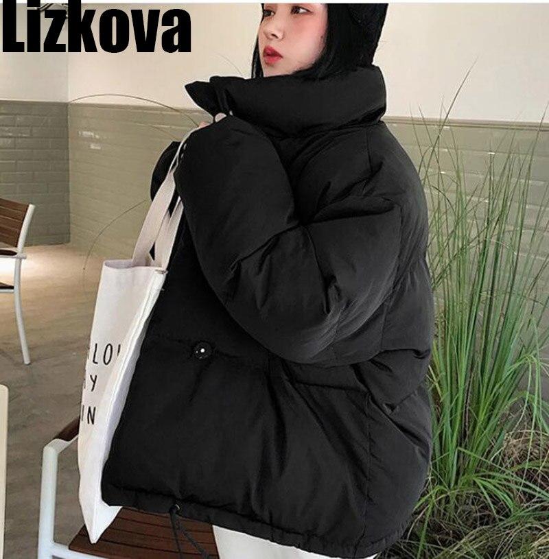 2019 Winter Black Cotton Coats Korean Style Women Stand Collar Short Loose Coat Student Oversized Jacket