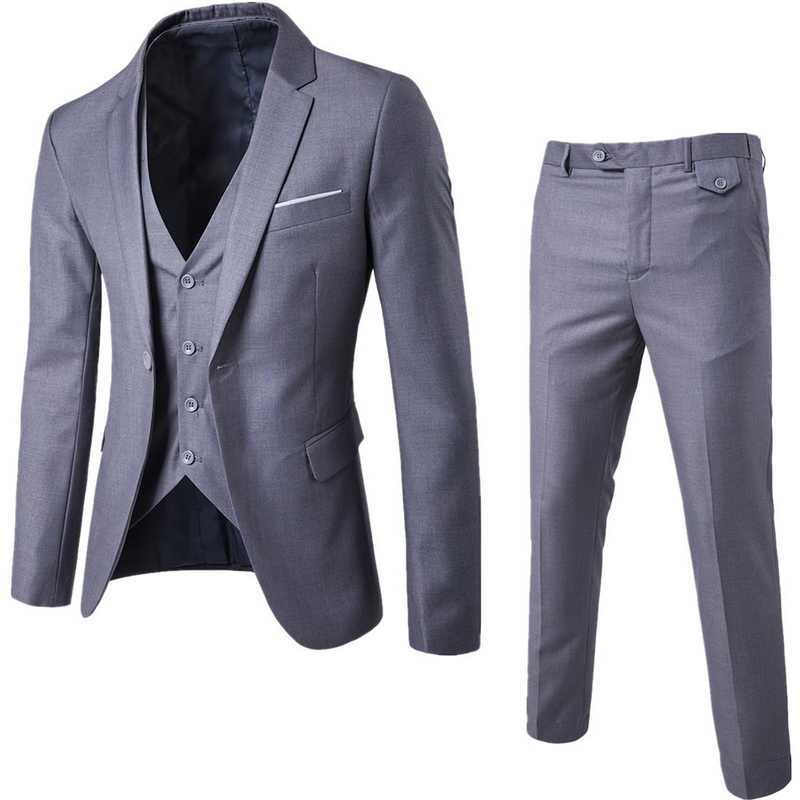 MJARTORIA 3 Pieces Business Blazer +Vest +Pants Suit Sets Men Autumn Fashion Solid Slim Wedding Set Vintage Classic Blazers Male