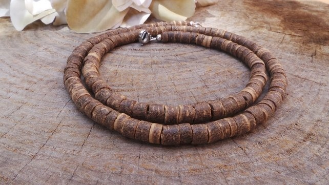 Mens beaded necklace Mens surfer necklace Surfer necklace Brown beaded necklace Mens coconut necklace