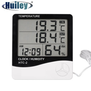 Digital Thermometer Hygrometer Weather Station Temperature Humidity Tester Clock Alarm Wall Indoor Outdoor Sensor Probe LCD
