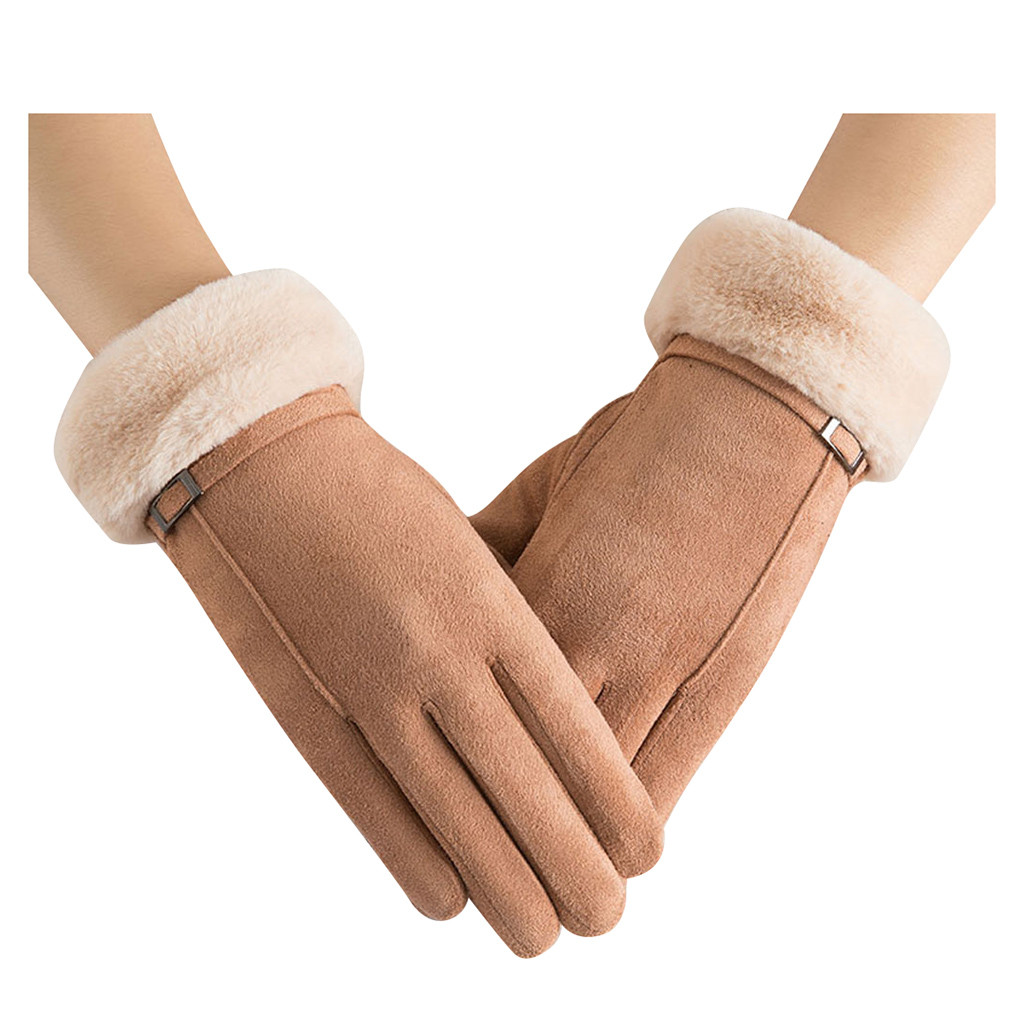Womens Fur Mittens Plus Villus Winter Warm Gloves Female Wrist Mittens Driving Ski Gloves Lady Warm Fur Mittens Gloves Eldiven