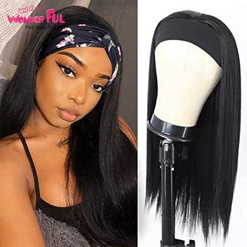 Headband Wig Straight Human Hair Wigs Brazilian Remy Headband Wig With Clip neat 150% Density Machine Human Wigs