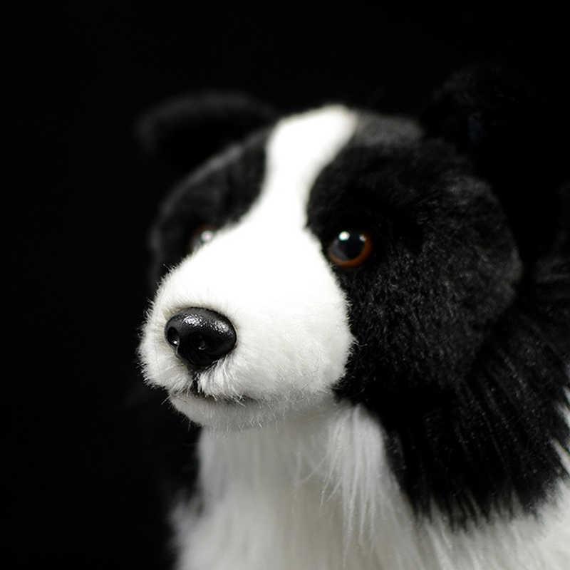 25cm Lebensechte Border Collie Plüsch Spielzeug Weichen Welpen Stofftier Puppen Wirklichen Leben Hund Plüsch Spielzeug Für Kinder Weihnachten geschenke