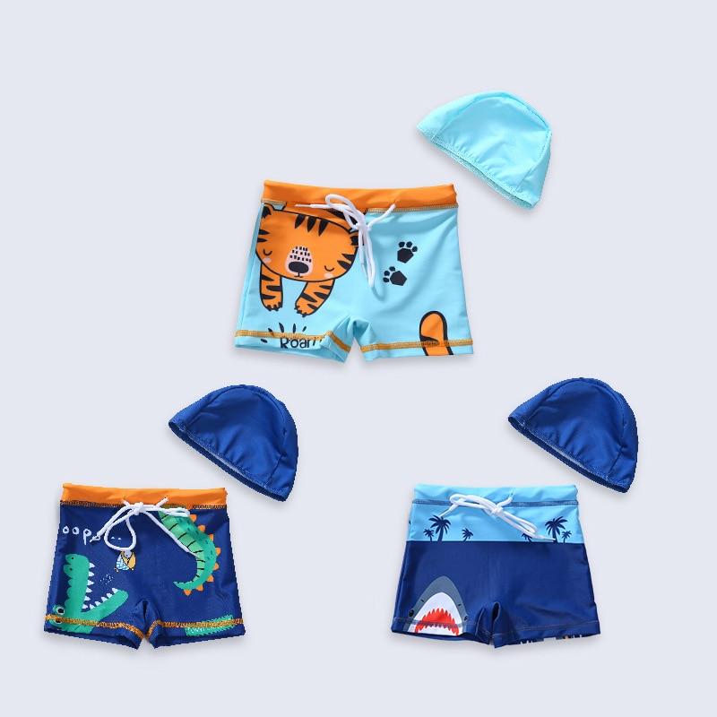 2019 New Style Cute BOY'S Split Type Swimming Trunks Send Cap Cartoon Animal Pattern Drawstring Regulation Quick-Dry Seaside Hol
