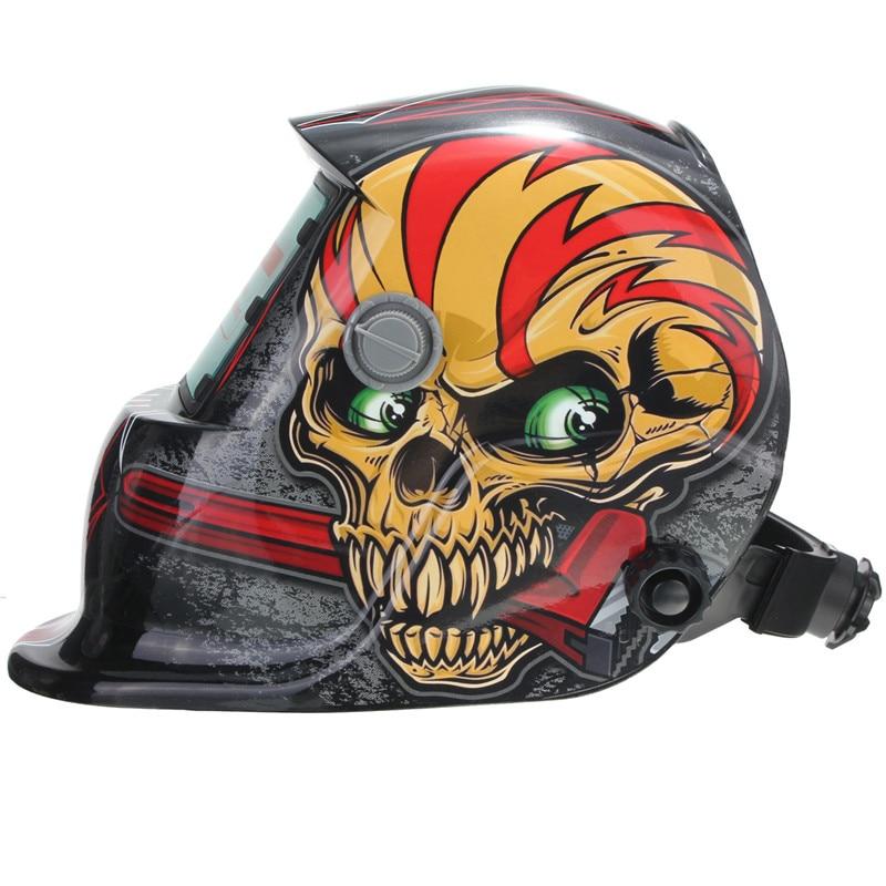 Solar Auto Darkening Welding Helmets Mask Red MIG Welding Helmet Skull Pattern Preservation For Welding Machine