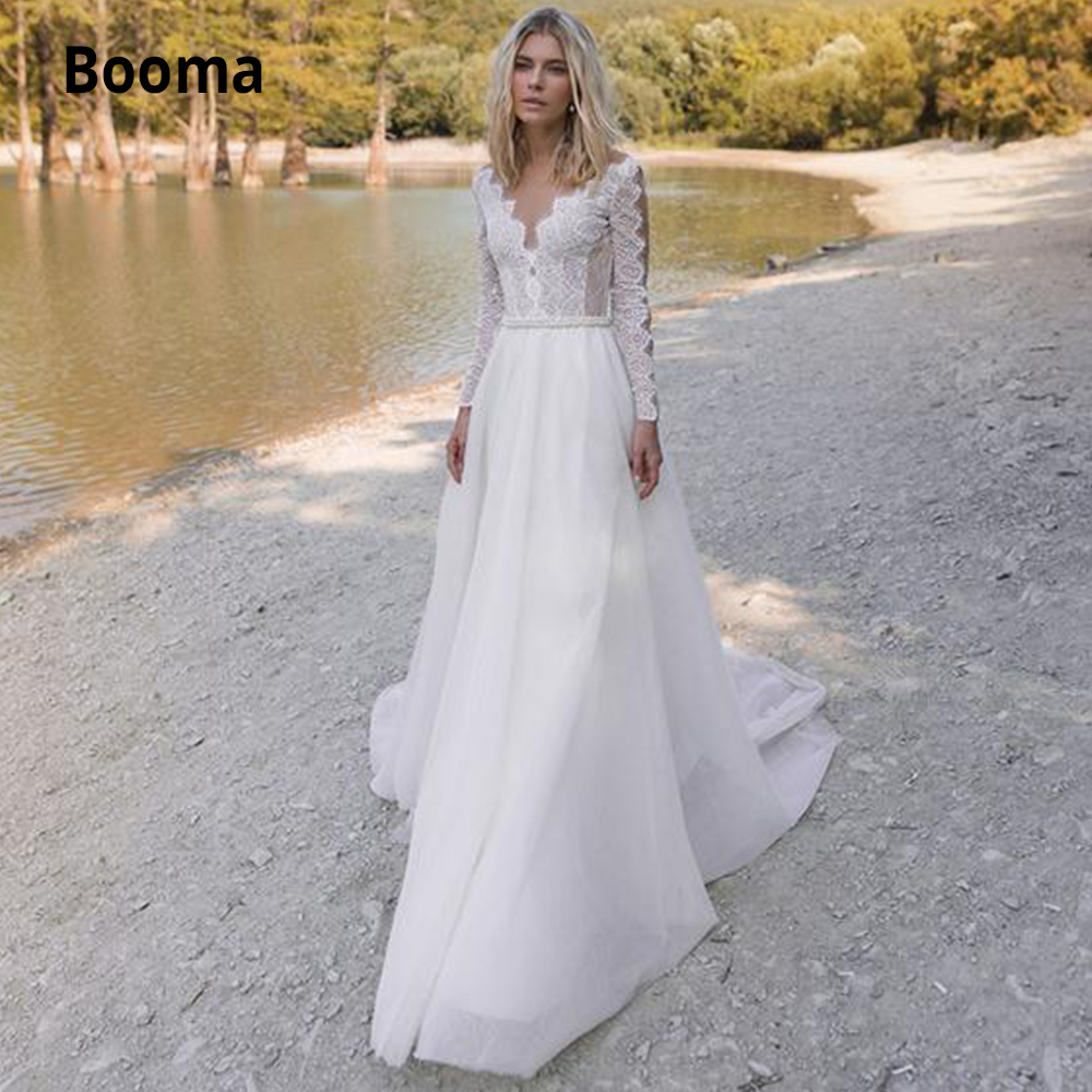 Booma Long Sleeve Lace Wedding Dresses Boho 2019 Back Illusion Pears Beach Bridal Gowns A-line Wedding Party Dress Sweep Train