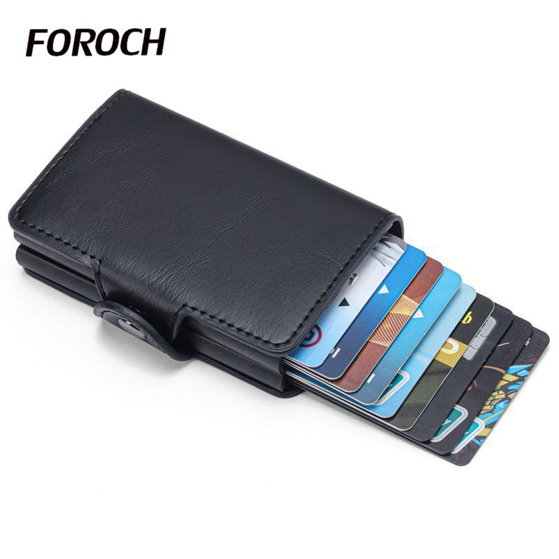 New Credit Card Holder Men And Women PU Leather Double Case Business Card Wallet Fashion Aluminum RFID ID Card Case Cardholder